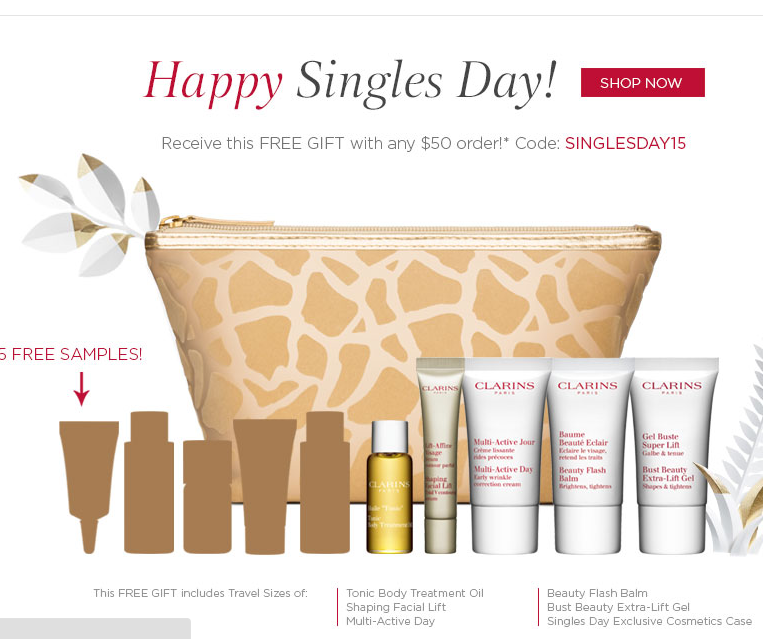 5 free samples, get a 6pc gift
