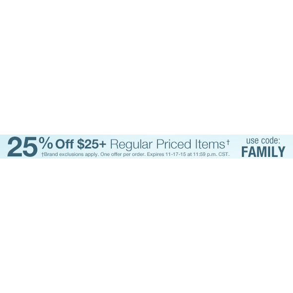 25% off $25+  Free Shipping
