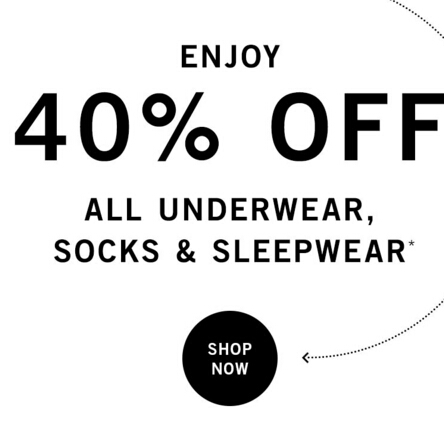 Enjoy 40% Off All Underwear