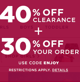 40% off clearance merchandise
