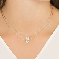 GALLERY PEAR LAYERED NECKLACE, WHITE, ROSE GOLD PLATING Now $49