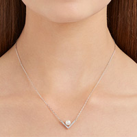 EDIFY NECKLACE, SMALL, WHITE, RHODIUM PLATING Now $55.00 (Reg. $