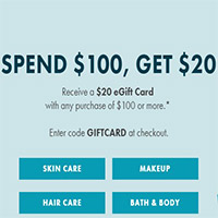 $20 eGift Card with any purchase of $100