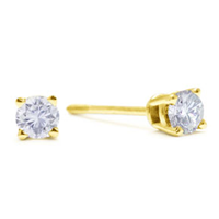 1/4Ct Diamond Studs In 14K Yellow Gold Only For $83.29 Per Pair